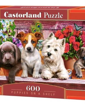 CP 060368 - Puppies on shelf - Castorland puzzel - 600 stuks