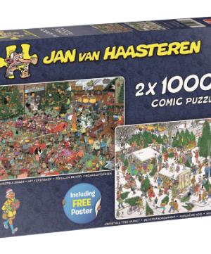 Het Kerstdiner en De Kerstbomenmarkt - Jan VanHaasteren - puzzel Jumbo 2 x 1000 stuks