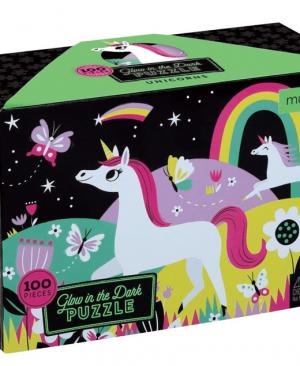 Unicorns - Glow in the Dark puzzel 100 stuks - mudpuppy 354575