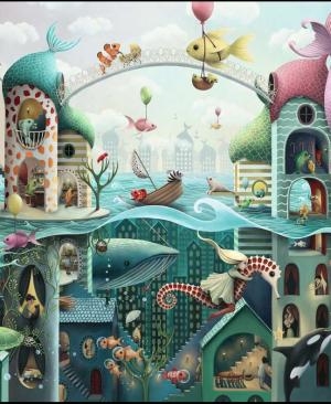 Als vissen konden lopen - puzzel 2000 stuks - Ravensburger 16823