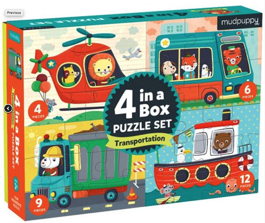 4 in a Box – puzzel 4-6-9-12 stuks – Mudpuppy 355385
