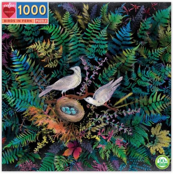 Birds in fern – puzzel 1000 stuks – eeBoo 9261