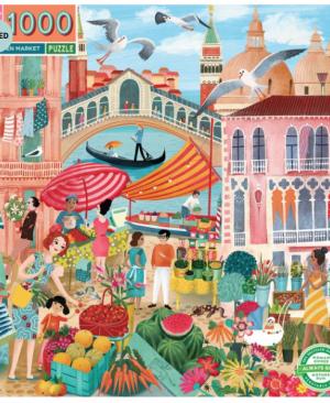 Venice open market - puzzel 1000 stuks - eeBoo 1080