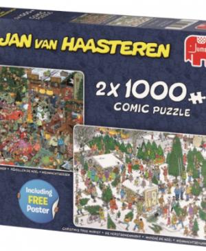 Christmas dinner/ tree market - puzzel 2x1000 - Jan van Haasteren