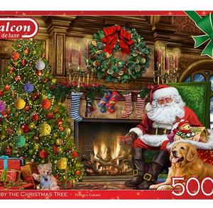 Santa by the christmas tree - puzzel 500 stuks - Falcon