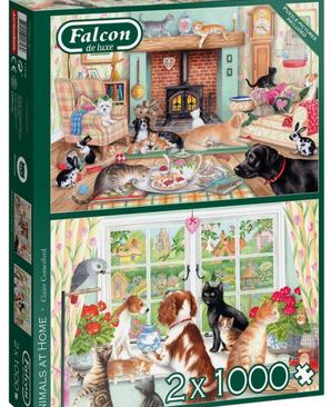 Animals at home - puzzel 2x1000 stuks - Falcon 11318